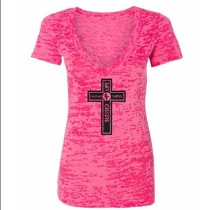 Fitness Burnout Shirt Blessed4Life in Pink!